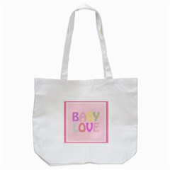 Pink Baby Love Text In Colorful Polka Dots Tote Bag (White)