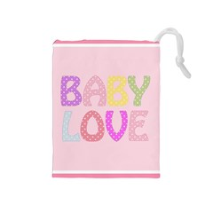 Pink Baby Love Text In Colorful Polka Dots Drawstring Pouches (Medium)