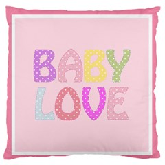 Pink Baby Love Text In Colorful Polka Dots Large Flano Cushion Case (one Side)