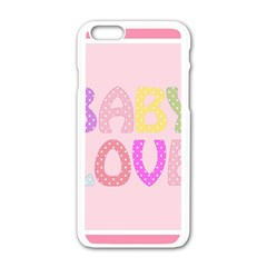 Pink Baby Love Text In Colorful Polka Dots Apple Iphone 6/6s White Enamel Case