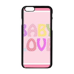 Pink Baby Love Text In Colorful Polka Dots Apple Iphone 6/6s Black Enamel Case