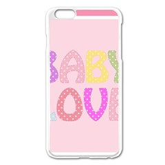 Pink Baby Love Text In Colorful Polka Dots Apple iPhone 6 Plus/6S Plus Enamel White Case