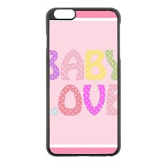Pink Baby Love Text In Colorful Polka Dots Apple iPhone 6 Plus/6S Plus Black Enamel Case