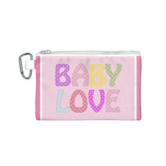 Pink Baby Love Text In Colorful Polka Dots Canvas Cosmetic Bag (S)