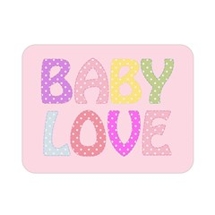 Pink Baby Love Text In Colorful Polka Dots Double Sided Flano Blanket (Mini)