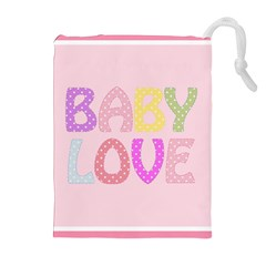 Pink Baby Love Text In Colorful Polka Dots Drawstring Pouches (extra Large)