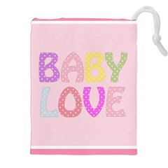 Pink Baby Love Text In Colorful Polka Dots Drawstring Pouches (xxl)