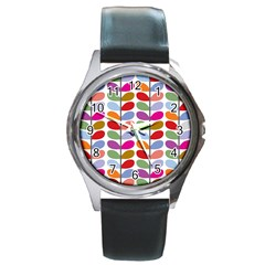 Colorful Bright Leaf Pattern Background Round Metal Watch
