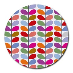 Colorful Bright Leaf Pattern Background Round Mousepads