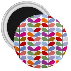 Colorful Bright Leaf Pattern Background 3  Magnets