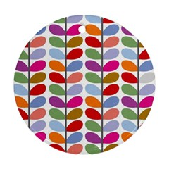 Colorful Bright Leaf Pattern Background Ornament (round)