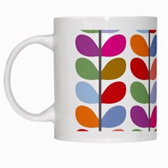 Colorful Bright Leaf Pattern Background White Mugs