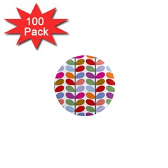 Colorful Bright Leaf Pattern Background 1  Mini Magnets (100 Pack)