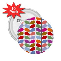 Colorful Bright Leaf Pattern Background 2.25  Buttons (10 pack)