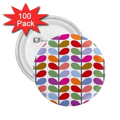 Colorful Bright Leaf Pattern Background 2 25  Buttons (100 Pack)
