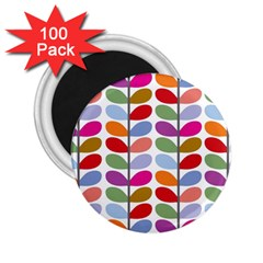 Colorful Bright Leaf Pattern Background 2 25  Magnets (100 Pack)