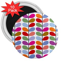 Colorful Bright Leaf Pattern Background 3  Magnets (10 Pack)