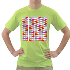 Colorful Bright Leaf Pattern Background Green T Shirt