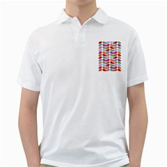 Colorful Bright Leaf Pattern Background Golf Shirts