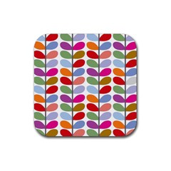 Colorful Bright Leaf Pattern Background Rubber Square Coaster (4 pack)
