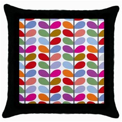 Colorful Bright Leaf Pattern Background Throw Pillow Case (black)
