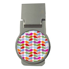 Colorful Bright Leaf Pattern Background Money Clips (Round)