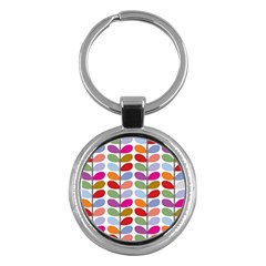 Colorful Bright Leaf Pattern Background Key Chains (round)