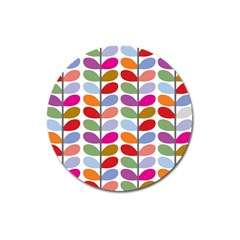 Colorful Bright Leaf Pattern Background Magnet 3  (Round)