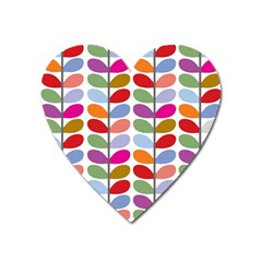 Colorful Bright Leaf Pattern Background Heart Magnet