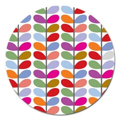 Colorful Bright Leaf Pattern Background Magnet 5  (Round)