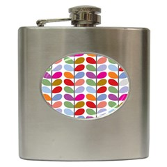 Colorful Bright Leaf Pattern Background Hip Flask (6 oz)