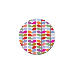 Colorful Bright Leaf Pattern Background Golf Ball Marker