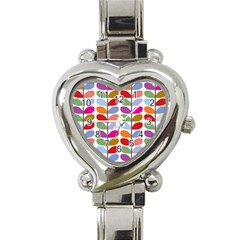 Colorful Bright Leaf Pattern Background Heart Italian Charm Watch