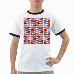 Colorful Bright Leaf Pattern Background Ringer T Shirts