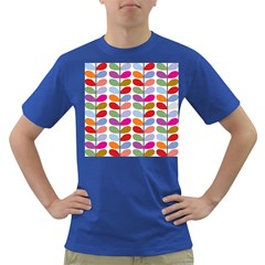 Colorful Bright Leaf Pattern Background Dark T Shirt