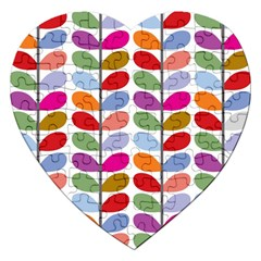 Colorful Bright Leaf Pattern Background Jigsaw Puzzle (Heart)