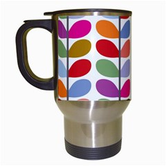 Colorful Bright Leaf Pattern Background Travel Mugs (white)