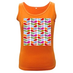 Colorful Bright Leaf Pattern Background Women s Dark Tank Top