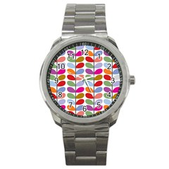Colorful Bright Leaf Pattern Background Sport Metal Watch