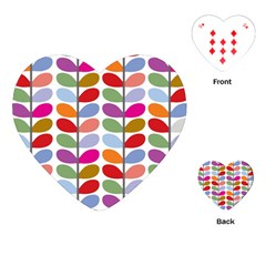 Colorful Bright Leaf Pattern Background Playing Cards (Heart)