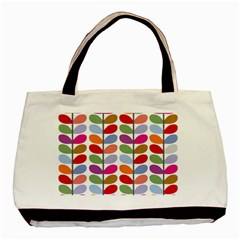 Colorful Bright Leaf Pattern Background Basic Tote Bag