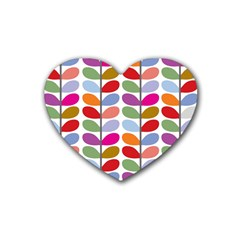 Colorful Bright Leaf Pattern Background Rubber Coaster (Heart)