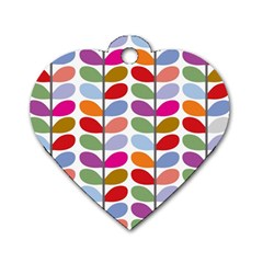 Colorful Bright Leaf Pattern Background Dog Tag Heart (one Side)