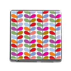 Colorful Bright Leaf Pattern Background Memory Card Reader (square)