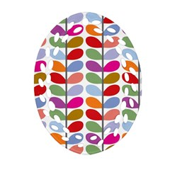 Colorful Bright Leaf Pattern Background Ornament (Oval Filigree)