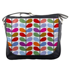 Colorful Bright Leaf Pattern Background Messenger Bags