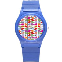 Colorful Bright Leaf Pattern Background Round Plastic Sport Watch (s)