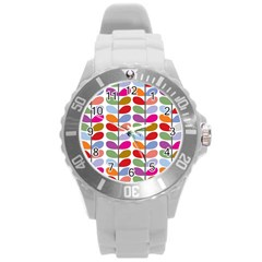 Colorful Bright Leaf Pattern Background Round Plastic Sport Watch (l)