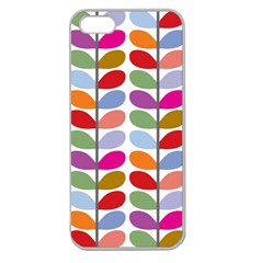 Colorful Bright Leaf Pattern Background Apple Seamless Iphone 5 Case (clear)