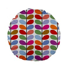 Colorful Bright Leaf Pattern Background Standard 15  Premium Round Cushions